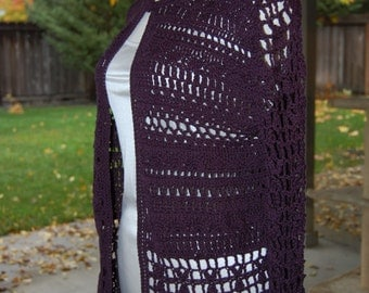 Crochet Cardigan in 75 cotton 25 acrylic color deep purple in size Large