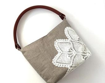 Natural Linen Hobo Bag with Vintage Doily