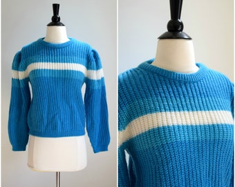 Vintage 1980's retro blue stripes sweater