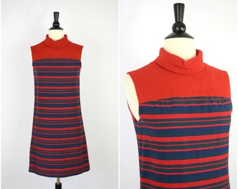 Vintage 60s mod striped dress / funnel collar red stripe sleeveless dress