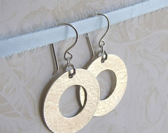 Valentines Day Sale Washer Earrings - Hammered Washer Earrings - Textured Hoop Earrings - Sterling Silver Washer Earrings