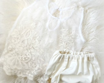 12 month Ivory Lace Top Diaper Cover Set,  Baby Girl, Clothing, Lace Top, Diaper Cover, Clothing, Photography Prop, Sitter Clothing