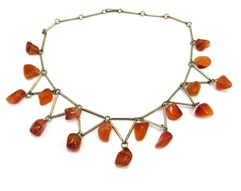 Vintage Silver Banded Agate Necklace, Carnelian Necklace, Silver Beaded Bib Collar, 1960s Modernist Jewelry