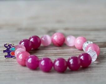 Pink Summer Bracelet, Elephant Charm Bracelet, Gemstone Bracelet, Beaded Bracelet, Summer Jewelry, Budget Jewelry, Gift for Friend, Bracelet