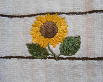 Sunflower Kitchen Towel, Embroidered Sunflower, Striped Towel, Sunflower Embroidery, Gift Idea for Bridal Shower, Housewarming Gift Idea