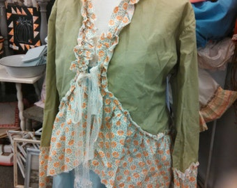 Palm leaf and ruffles stage coach jacket