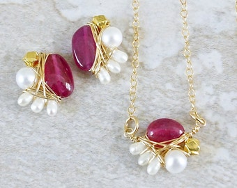 SET: Cluster gemstone jewelry - Ruby & freshwater pearl necklace and earrings - wire wrapped jewelry - 14k gold filled