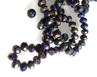 Metallic Blue Crystals - Rondelle Beads, Blue Grey, Blue Grey  Faceted Glass Rondelles Crystal beads-6x4mm (45 pcs) G 50 048