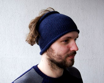 Knitted Mens Headband Hat Guys knit hair wrap Unisex Adults Dread band denim color hair accessories