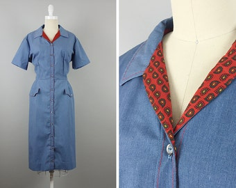 1950sChambray Dress --> Deadstock --> 1950 Dress --> Day Dress 1950 --> 1950s Dress --> 1950s Clothing --> 1950s Cotton Dress --> 50s Dress