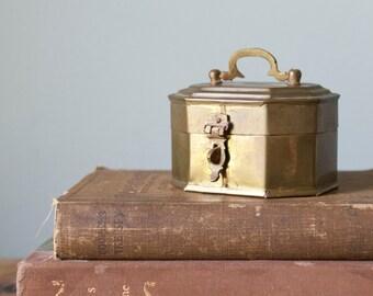 Vintage Geometric Brass Cricket Box Octagon Trinket Jewelry Box