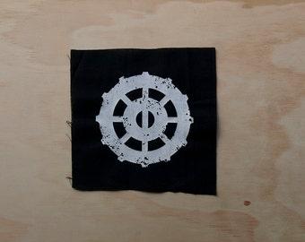 Lexa's Gear Patch screen printed black calico