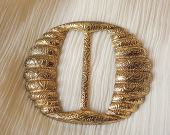 1930s Vintage golden colored metal brass geometric belt buckle art deco sewing projects 30s 40s