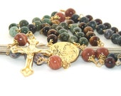 Three Holy Hearts Catholic Rosary Prayer Beads, Gemstone Beads, Unique Man's Rosary