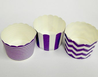 Cupcake Baking Cups, 20 Purple Baking Cups, Candy / Nut Cup, Baking Cups, Ring Stripe, Vertical Stripe, Chevron, Muffin Liners, Cupcake