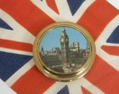 VTG 50s Compact Souvenir Mirror, London Scene, Big Ben,Unused