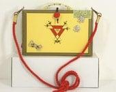 VTG Original Handcrafted Cigar Box Handbag, Lined, Mirror,Orson's Place,Rhinestones