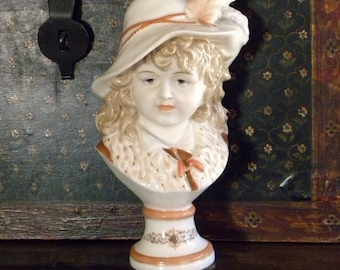 Antique Bisque Porcelain Young Girl Bust Figurine Statue SIGNED