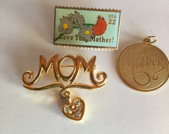 Mom Mothers Day Pendant Brooch Pin Vintage lot 118