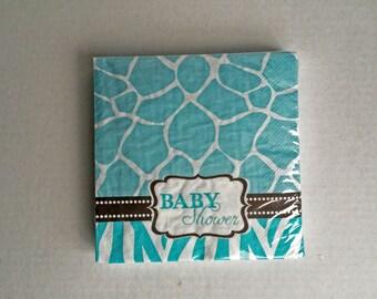 Blue Baby Shower Napkins: Safari Theme Animal Print Party Supplies