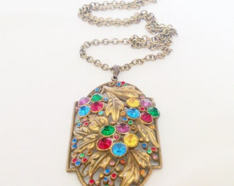 Vintage Art Nouveau Multi Color Rhinestone Leaf Design Pendant Necklace