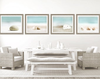 Shell Photo Set, shell photography, beach decor, turquoise blue beach photos, shell art, beach house decor, shore house decor, sea urchin