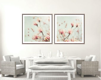 Flower photography set of 2 magnolia picture baby girl nursery art wall decor print botanical art pink and blue wall art girls bedroom