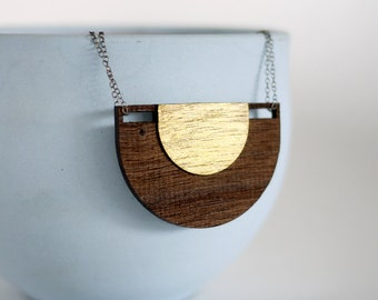 Laser Cut Half Moon Wood and Gold Pendant Long Necklace