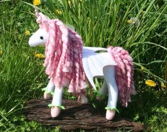 Stargazer Lily Pegacorn ~ Flower Pony Collection, White/Pink Eco Friendly Stuffed Pegacorn, Stuffed Animal, Girls Gift, Flower Fairy Pony