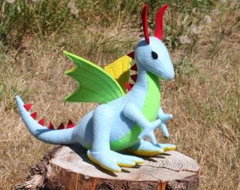 Neon Dragon Fantasy Plush ~ Stuffed Animal Toy, Handcrafted Eco Felt Dragon, Boys Gift, Kids Eco Friendly Dragon Plushie, Waldorf Dragon