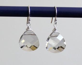 Silver Gray Crystal Earrings, Swarovski Crystal Briolettes, Sterling Silver, Silver Bridesmaid earrings, Gray drop earrings, Crystal earring