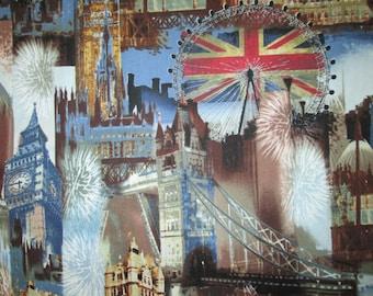 London Sites British UK Landmarks Light Blue Cotton Fabric Fat Quarter or Custom Listing