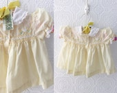 Vintage Baby Girl's Dress, Pale Yellow with Ducklings, Easter Dress, White Lace, Embroidered with Smocking by Carriage Boutiques, Sz 3-6 mo