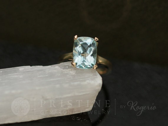 Cushion Aquamarine Solitaire Gold Ring Gemstone Ring Weddings Anniversary March Birthstone Gift For Her