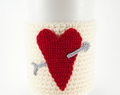 Coffee cozy, cup sleeve, red heart, silver arrow, heart coffee cozy, red sleeve, cupids arrow, Valentine's day gift for her, valentine