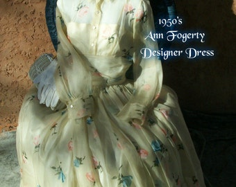 RARE 1950s VINTAGE Tea Length Designer Dress - Ann Fogarty A Line Cupcake Couture Full Skirt Silk Organza Classic Hollywood Hepburn