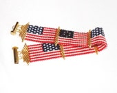 Handcrafted U.S. Flag Bracelet, Red white and blue bracelet, Peyote Stitch Flag Bracelet