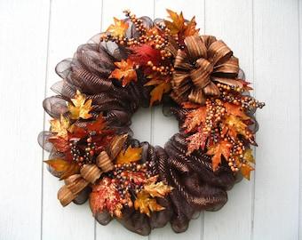 Luxurious Brown Metallic Deco Mesh Fall Wreath Door or Wall Decor