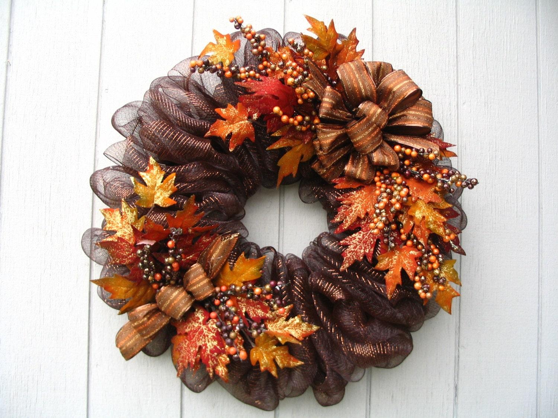 Luxurious Brown Metallic Deco Mesh Fall Wreath Door Or Wall