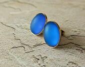 moonstone earrings blue earrings frosted earrings vintage earrings blue studs girlfriend gift vintage inspired glam earrings