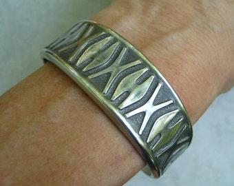 Vintage Eik Pewter Cuff Bracelet Norway Scandinavian Signed