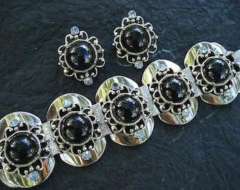 Vintage Selro Set Wide Bracelet Earrings Black Glass Cabochons Blue Rhinestone Silver Tone Panels