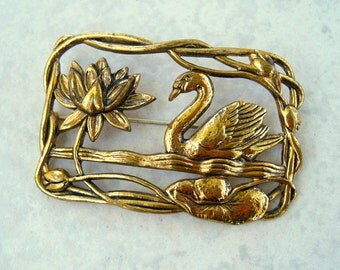 Vintage Swan Brooch Openwork C Clasp Gold Tone Framed Scenic