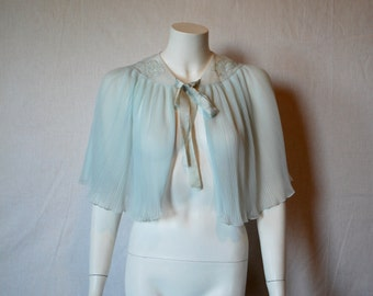 1950s Blue Capelet Bed Jacket Cape,  Medium