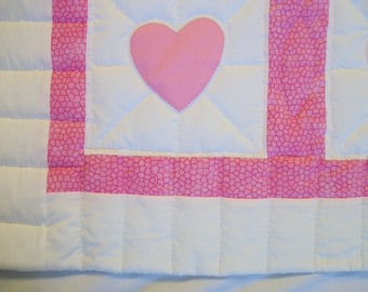 Pink heart baby quilt
