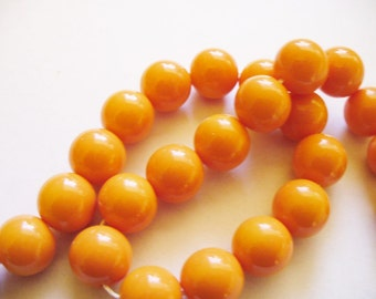 Glass  Beads Orange Round 10MM