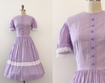 vintage 1960s dress // 60s purple gingham day dress