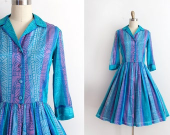 vintage 1950s dress // 50s silk colorful dress