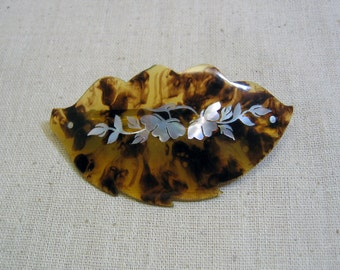 Vintage, Acrylic Tortoise Shell Hair Barrette, Inlaid Mother of Pearl