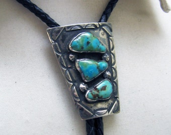 Turquoise Native American Bolo Tie, Sterling Silver